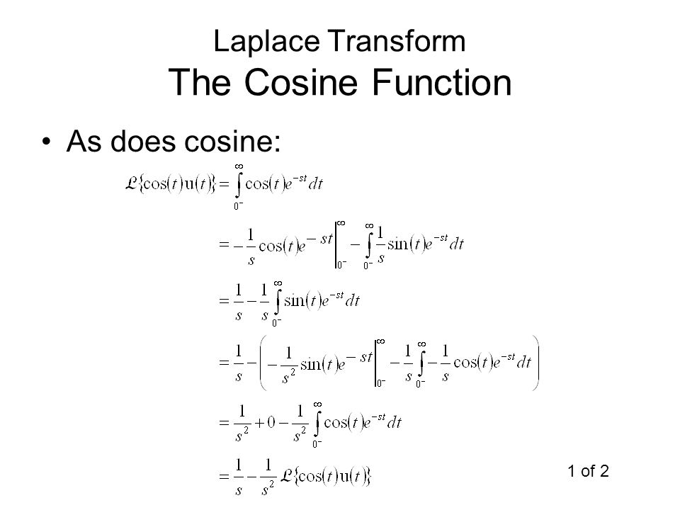Laplace Transform The Cosine Function As does cosine: 1 of 2