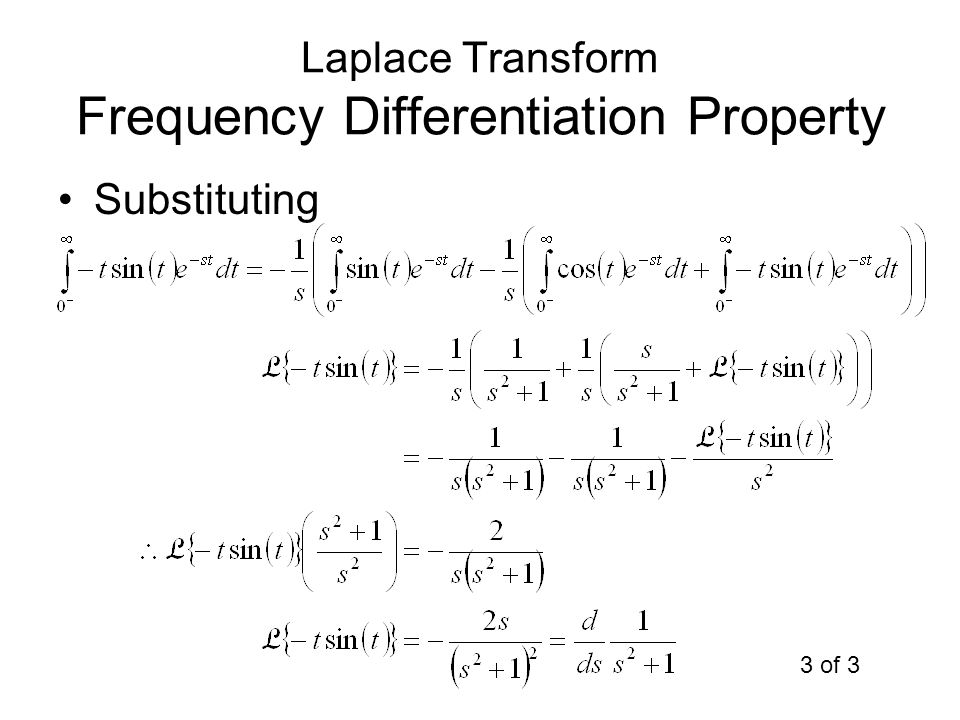 Laplace Transform Frequency Differentiation Property Substituting 3 of 3
