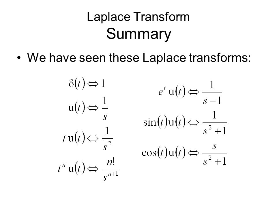 Laplace Transform Summary We have seen these Laplace transforms: