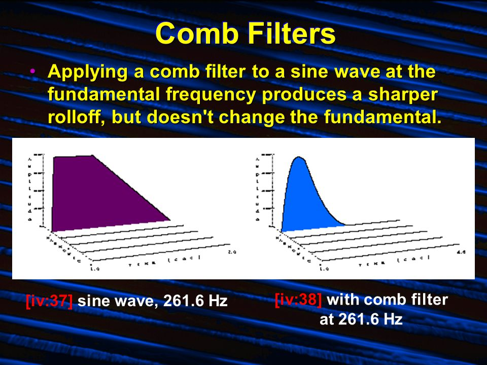 Comb Filters Applying a comb filter to a sine wave at the fundamental frequency produces a sharper rolloff, but doesn t change the fundamental.Applying a comb filter to a sine wave at the fundamental frequency produces a sharper rolloff, but doesn t change the fundamental.
