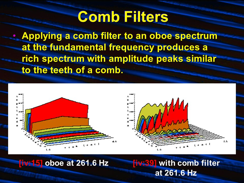 Comb Filters Applying a comb filter to an oboe spectrum at the fundamental frequency produces a rich spectrum with amplitude peaks similar to the teet