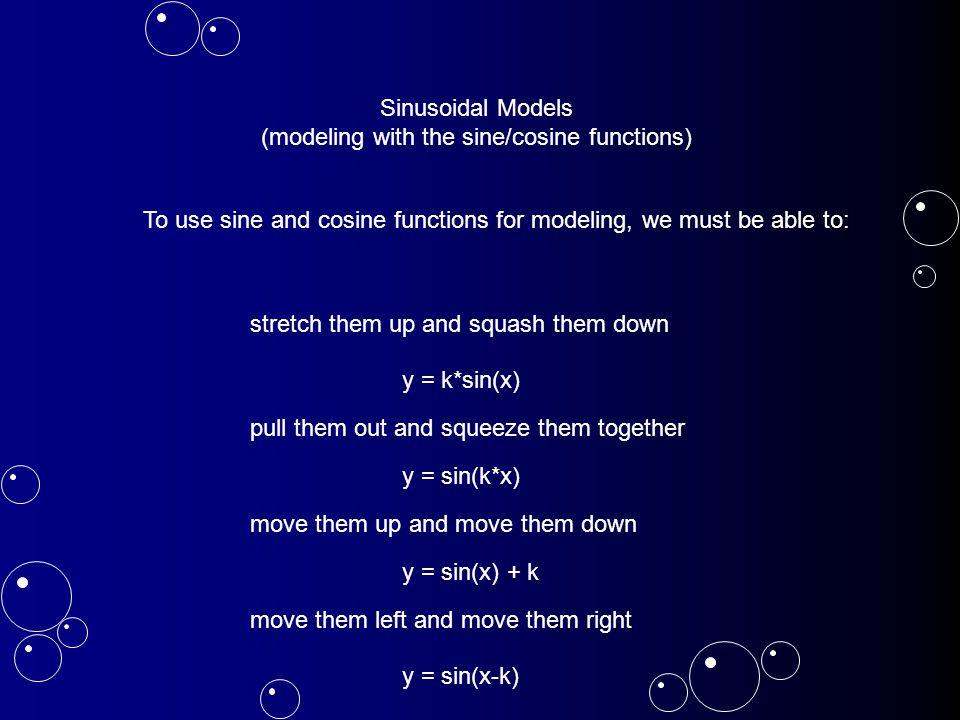 stretch them up and squash them down y = Asin(x) y = 1sin(x) Period: 2π Midline: y = 0 Amplitude: 1