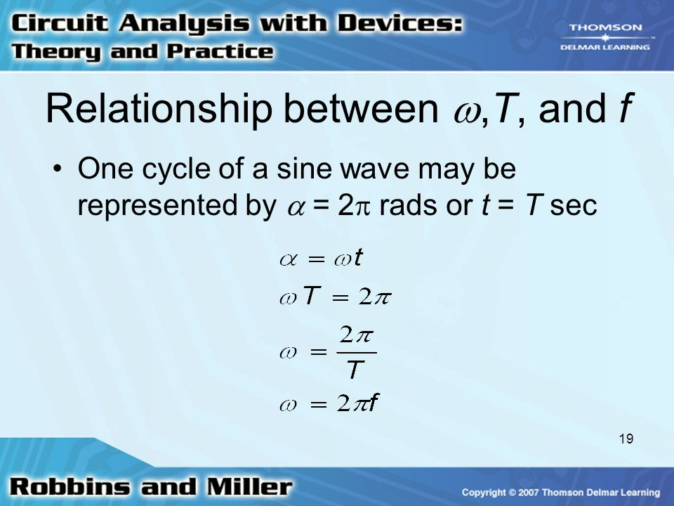 19 Relationship between ,T, and f One cycle of a sine wave may be represented by  = 2  rads or t = T sec