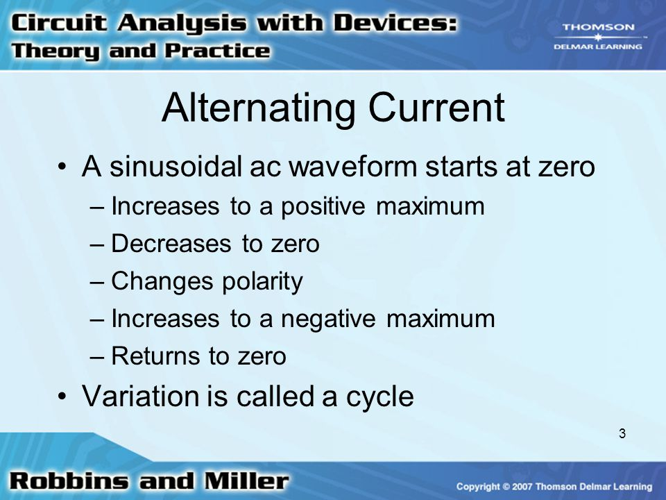 3 Alternating Current A sinusoidal ac waveform starts at zero –Increases to a positive maximum –Decreases to zero –Changes polarity –Increases to a ne