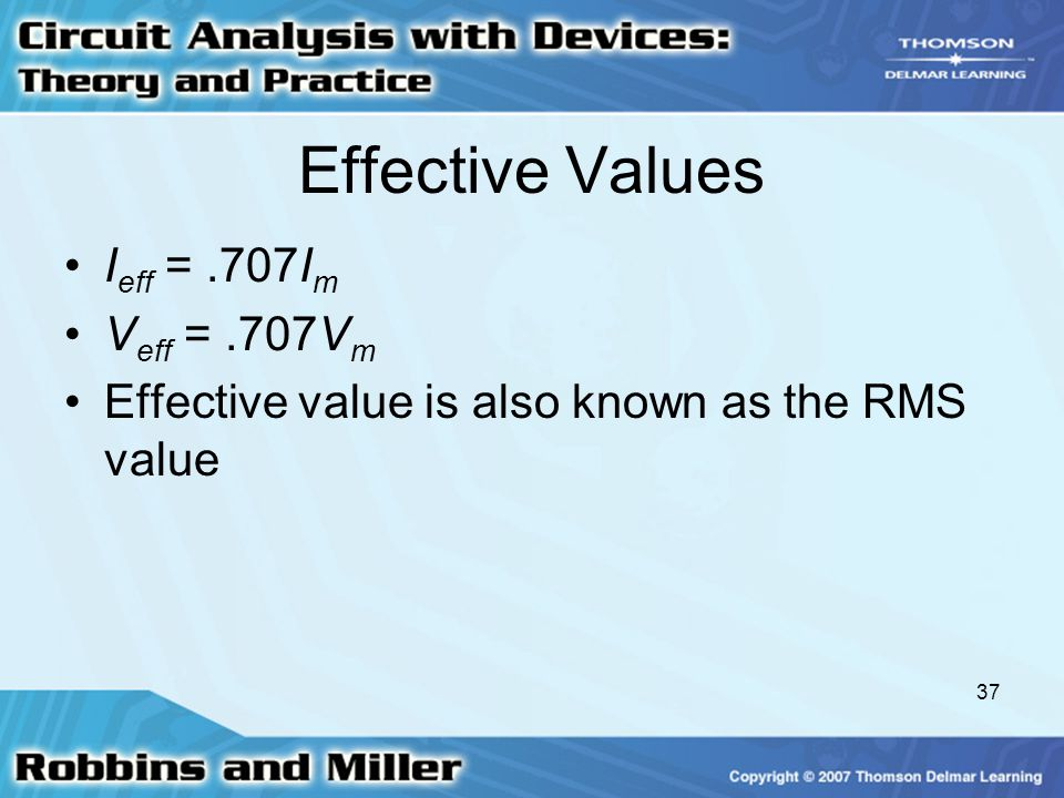 37 Effective Values I eff =.707I m V eff =.707V m Effective value is also known as the RMS value