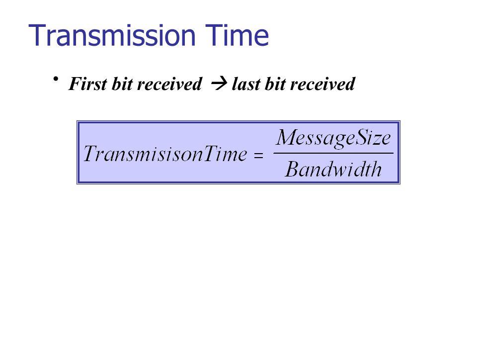 Transmission Time First bit received  last bit received