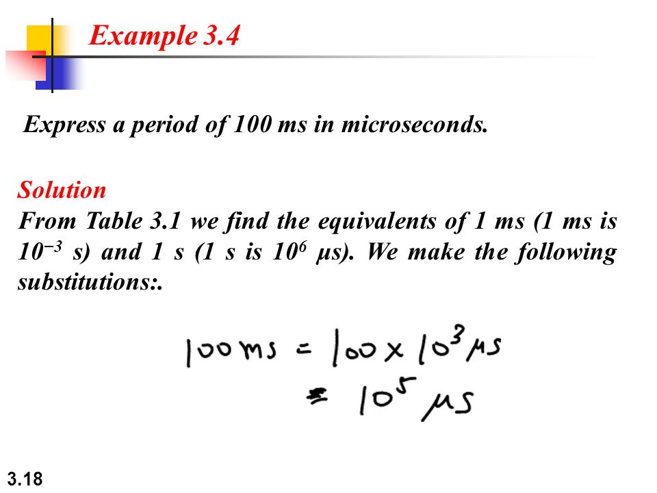 3.18 Express a period of 100 ms in microseconds. Example 3.4 Solution From Table 3.1 we find the equivalents of 1 ms (1 ms is 10 −3 s) and 1 s (1 s is