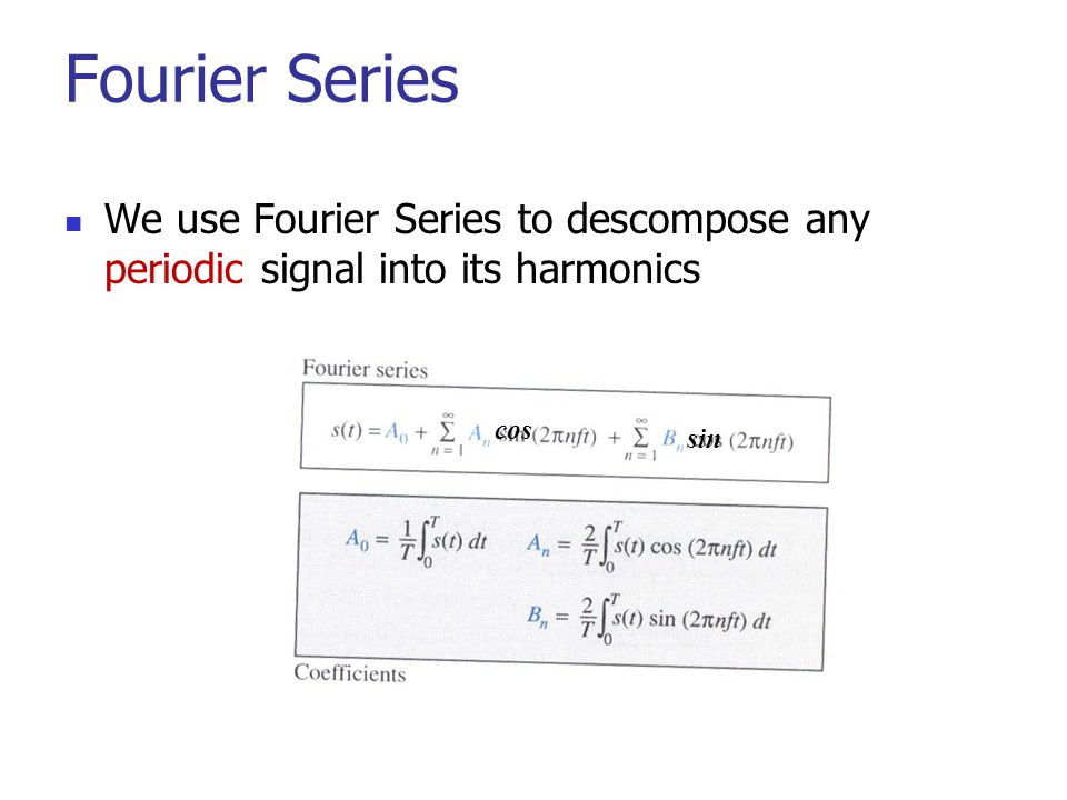 Fourier Series We use Fourier Series to descompose any periodic signal into its harmonics cos sin