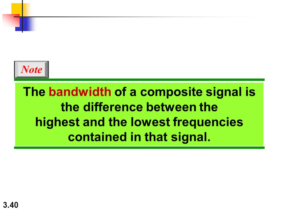3.40 The bandwidth of a composite signal is the difference between the highest and the lowest frequencies contained in that signal. Note