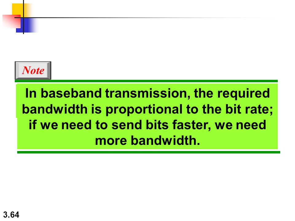 3.64 In baseband transmission, the required bandwidth is proportional to the bit rate; if we need to send bits faster, we need more bandwidth. Note In