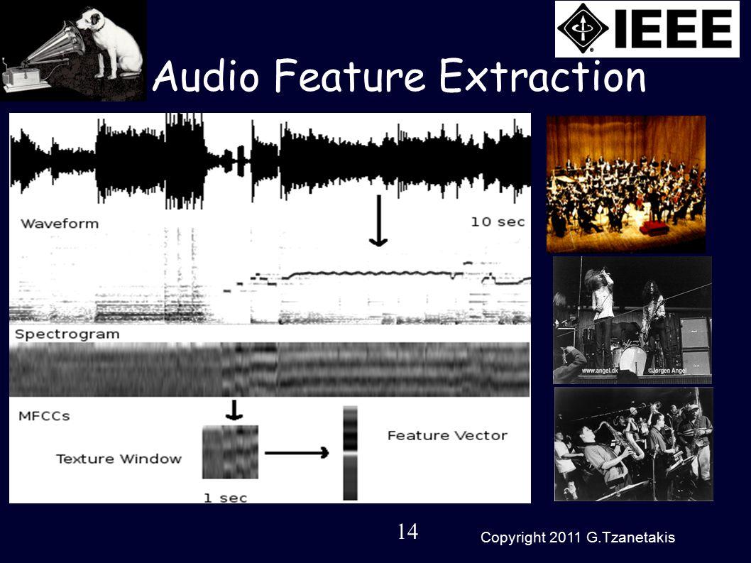 14 Copyright 2011 G.Tzanetakis Audio Feature Extraction