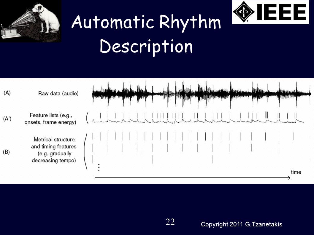 22 Copyright 2011 G.Tzanetakis Automatic Rhythm Description