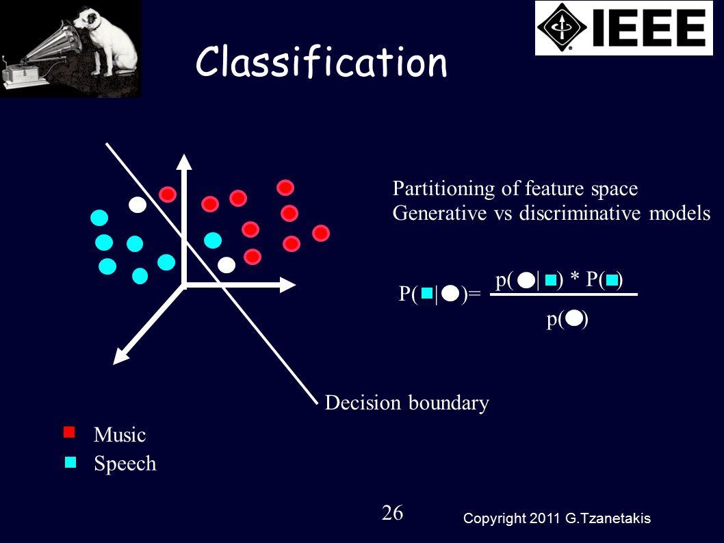 26 Copyright 2011 G.Tzanetakis p( | ) * P( ) Classification Decision boundary Partitioning of feature space Generative vs discriminative models P( | )= p( ) Music Speech