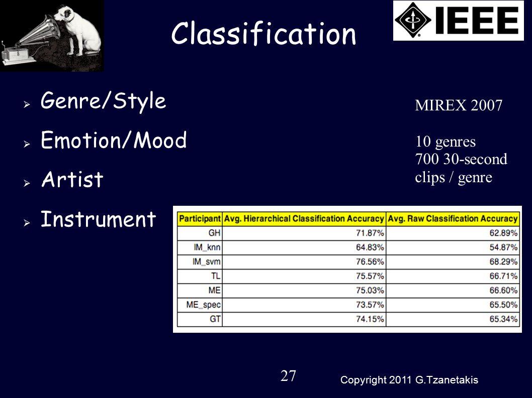 27 Copyright 2011 G.Tzanetakis Classification  Genre/Style  Emotion/Mood  Artist  Instrument MIREX 2007 10 genres 700 30-second clips / genre
