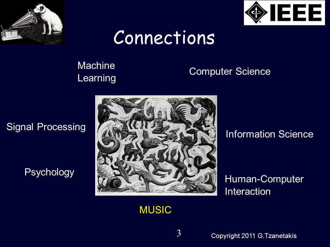 3 Copyright 2011 G.Tzanetakis Connections Machine Learning Signal Processing Psychology Computer Science Information Science Human-Computer Interaction MUSIC