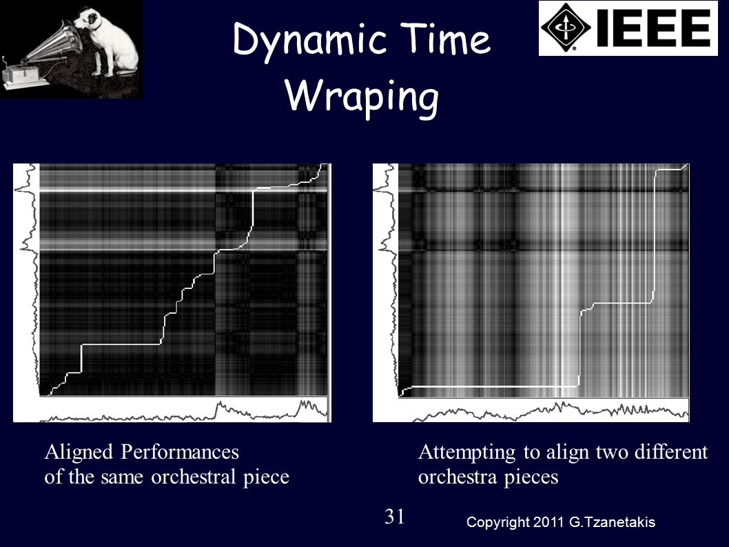 31 Copyright 2011 G.Tzanetakis Dynamic Time Wraping Aligned Performances of the same orchestral piece Attempting to align two different orchestra pieces