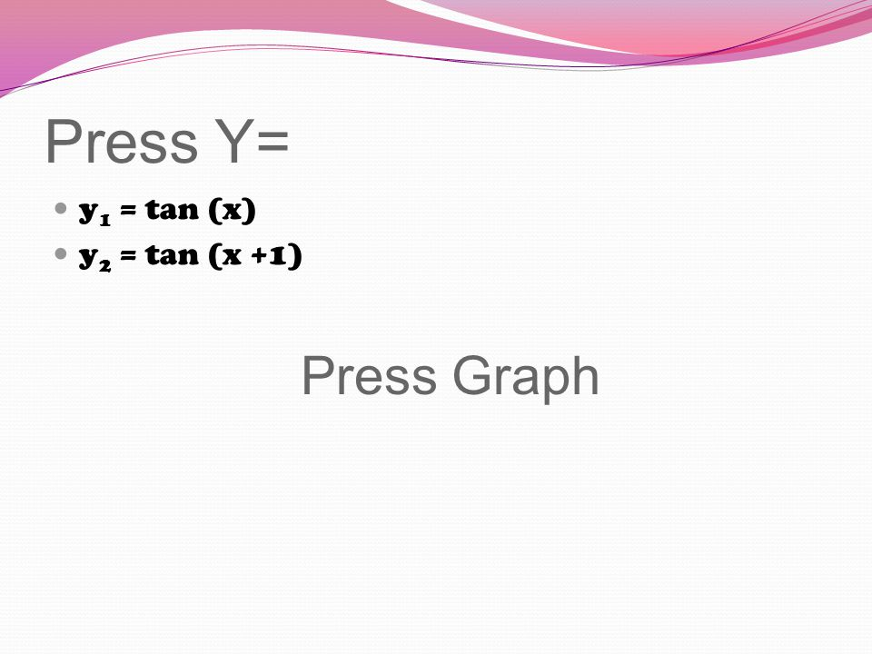 Press Y= y 1 = tan (x) y 2 = tan (x +1) Press Graph