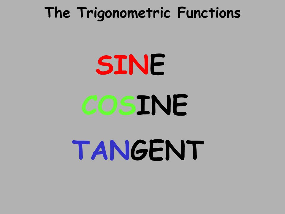 The Trigonometric Functions SINE COSINE TANGENT