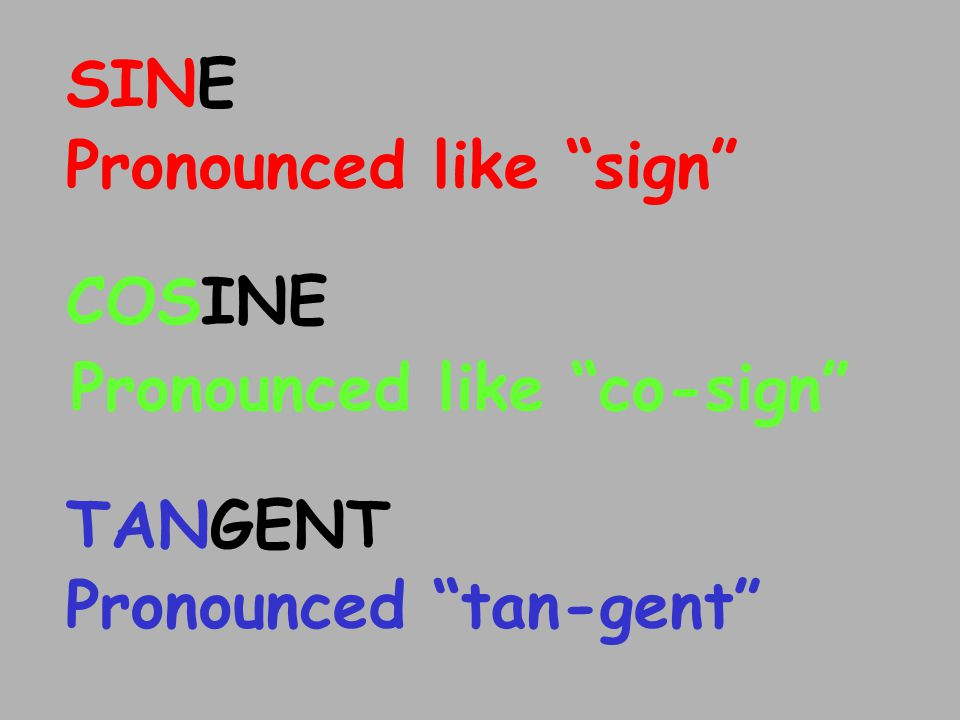 SINE Pronounced like sign Pronounced like co-sign COSINE Pronounced tan-gent TANGENT