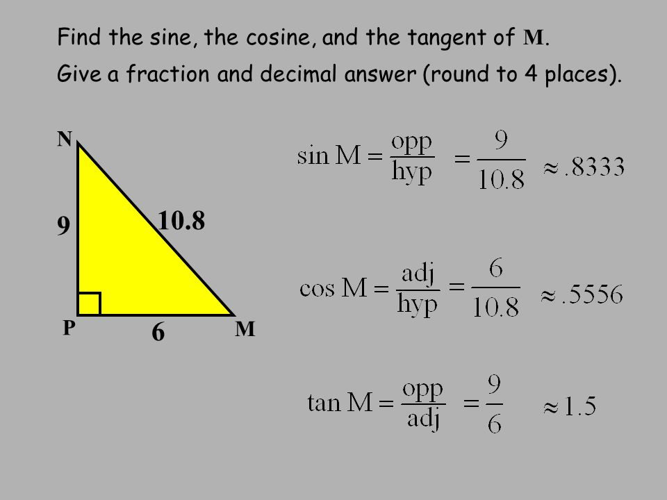Find the sine, the cosine, and the tangent of M.