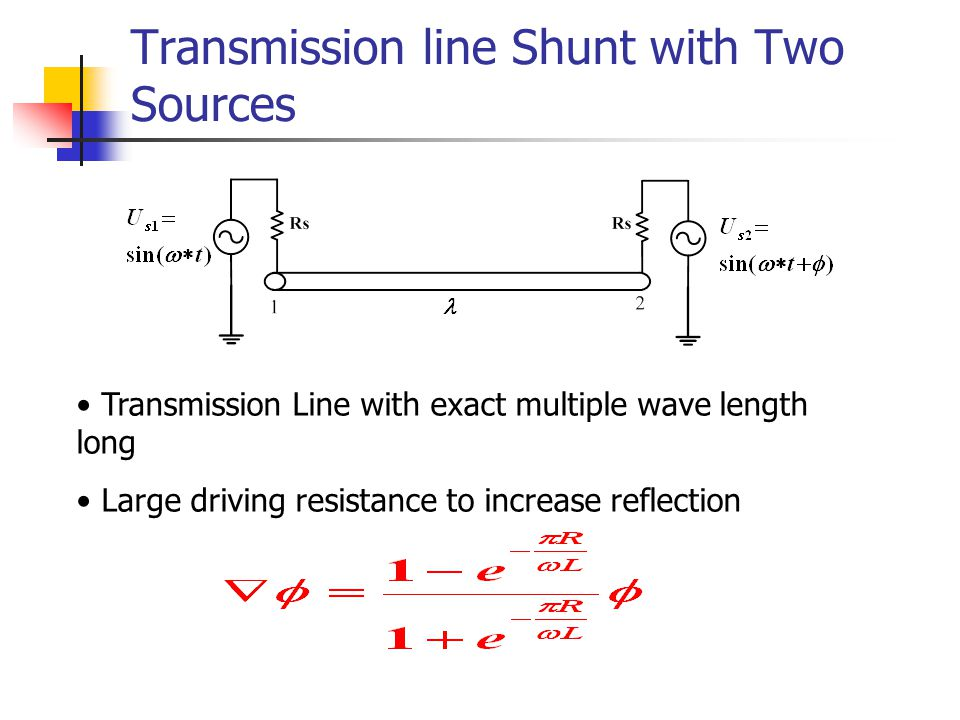 Transmission line Shunt with Two Sources Transmission Line with exact multiple wave length long Large driving resistance to increase reflection