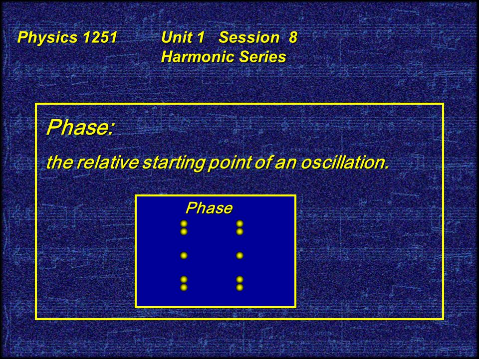 Physics 1251 Unit 1 Session 8 Harmonic Series Frequency, Amplitude, and Phase of a sine wave: Frequency Frequency