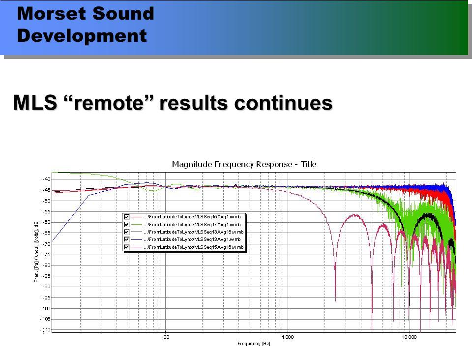 Morset Sound Development MLS remote results continues