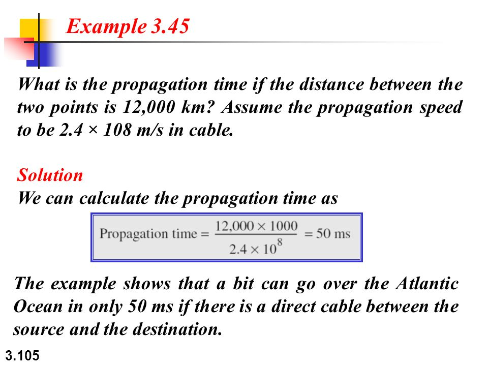 3.105 What is the propagation time if the distance between the two points is 12,000 km.