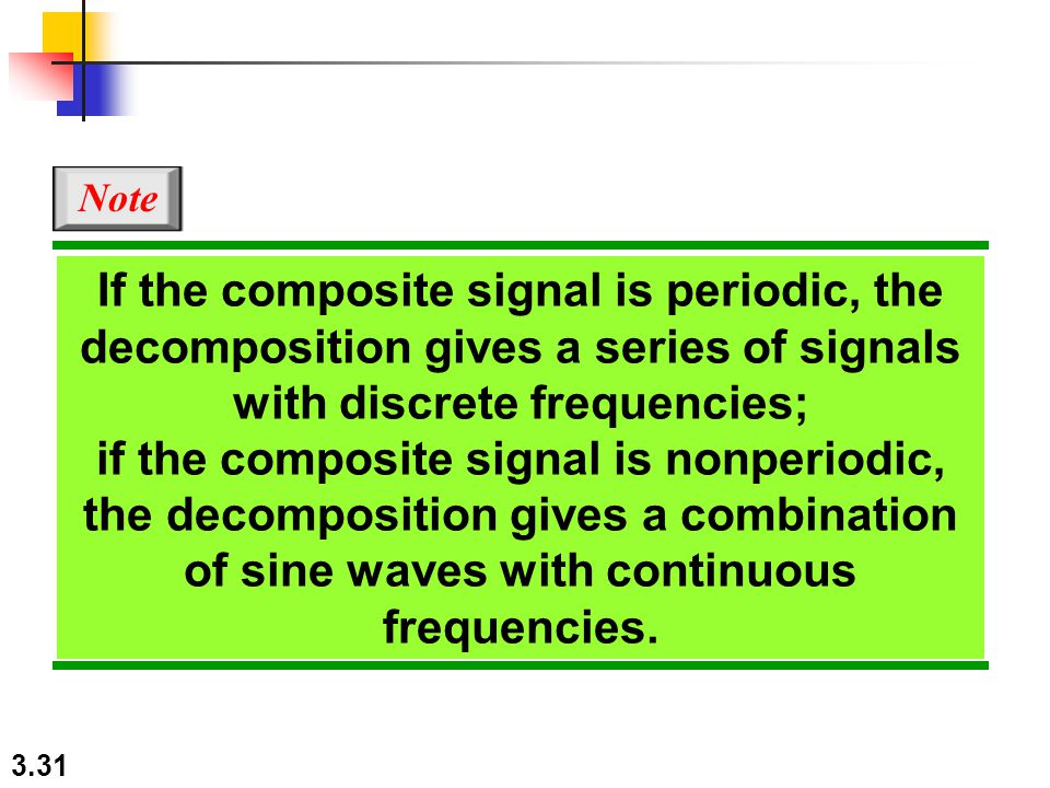 3.31 If the composite signal is periodic, the decomposition gives a series of signals with discrete frequencies; if the composite signal is nonperiodic, the decomposition gives a combination of sine waves with continuous frequencies.