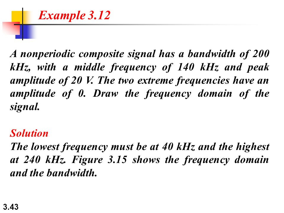 3.43 A nonperiodic composite signal has a bandwidth of 200 kHz, with a middle frequency of 140 kHz and peak amplitude of 20 V.
