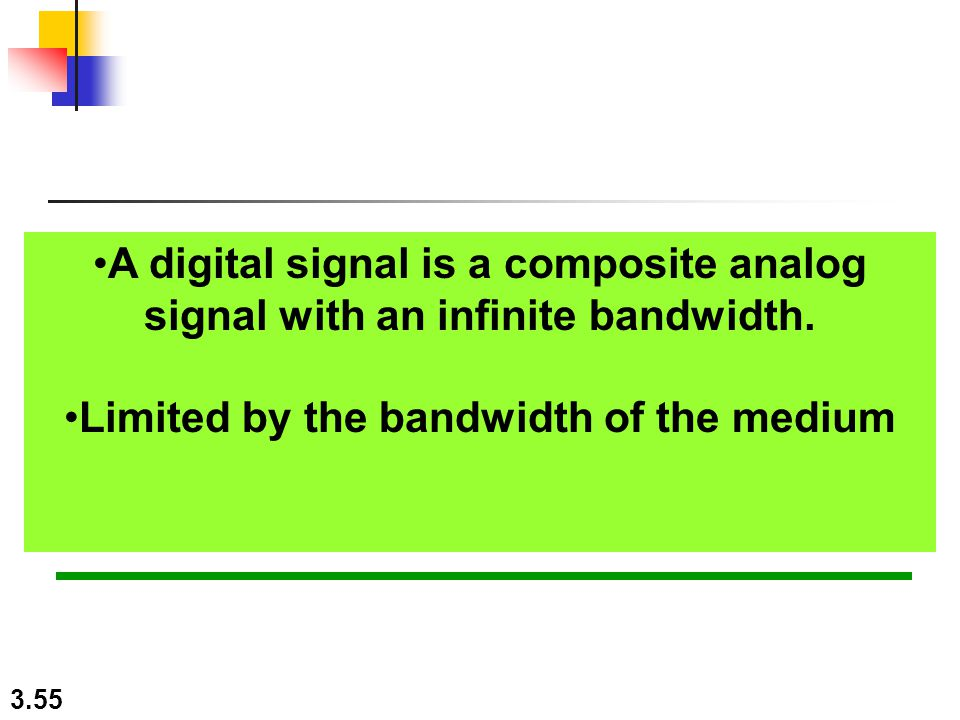 3.55 A digital signal is a composite analog signal with an infinite bandwidth.