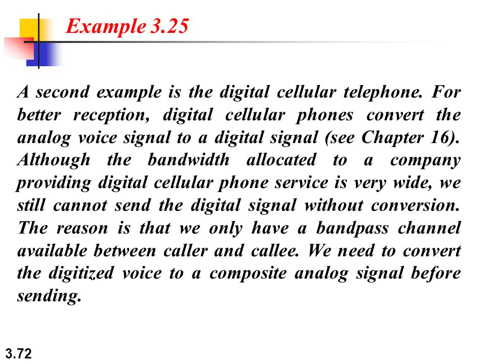3.72 A second example is the digital cellular telephone.