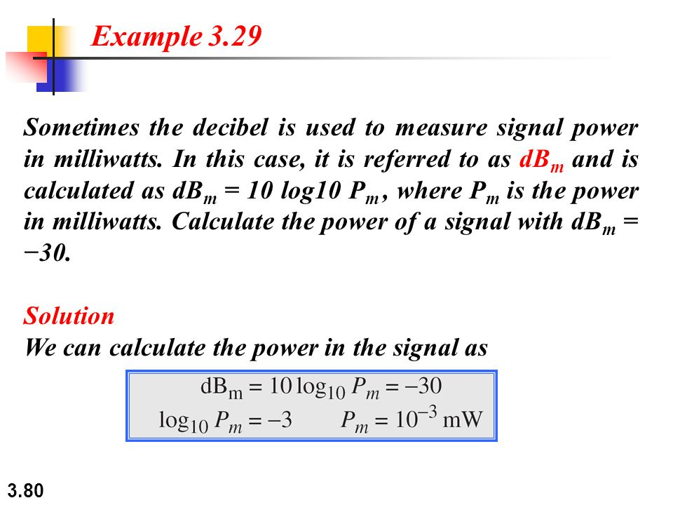 3.80 Sometimes the decibel is used to measure signal power in milliwatts.