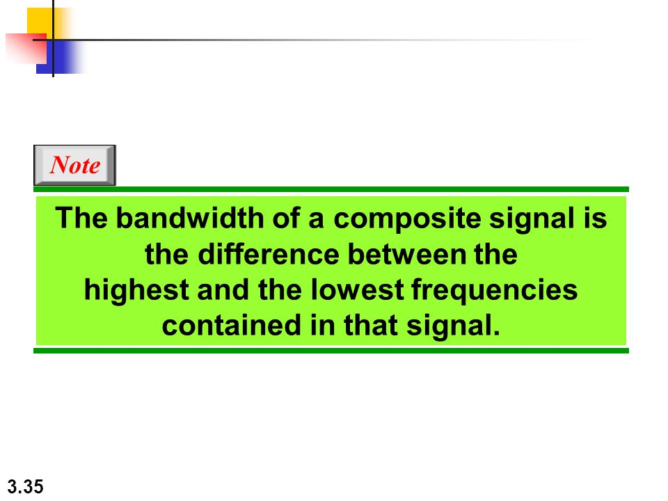 3.35 The bandwidth of a composite signal is the difference between the highest and the lowest frequencies contained in that signal.