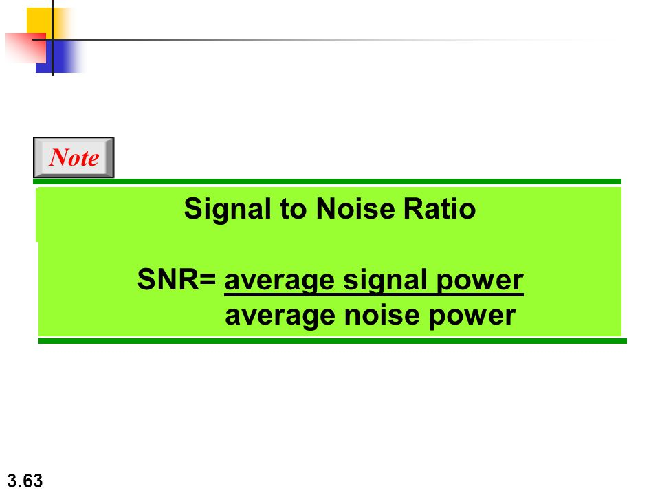 3.63 In baseband transmission, the required bandwidth is proportional to the bit rate; Note Signal to Noise Ratio SNR= average signal power average no