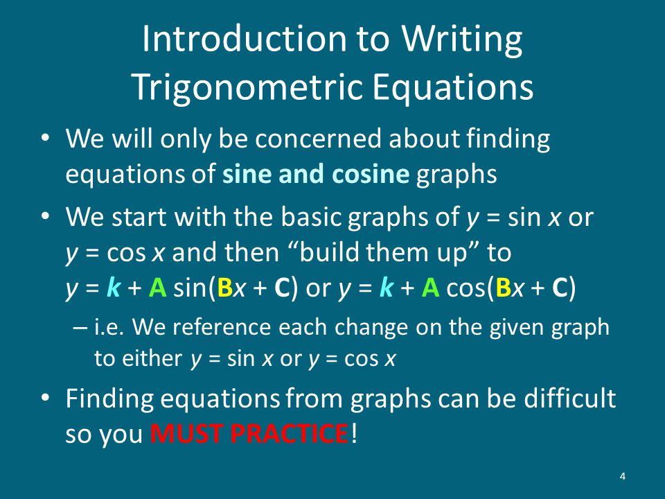 "We will only be concerned about finding equations of sine and cosine graphs We start with the basic graphs of y = sin x or y = cos x and then ""build t"