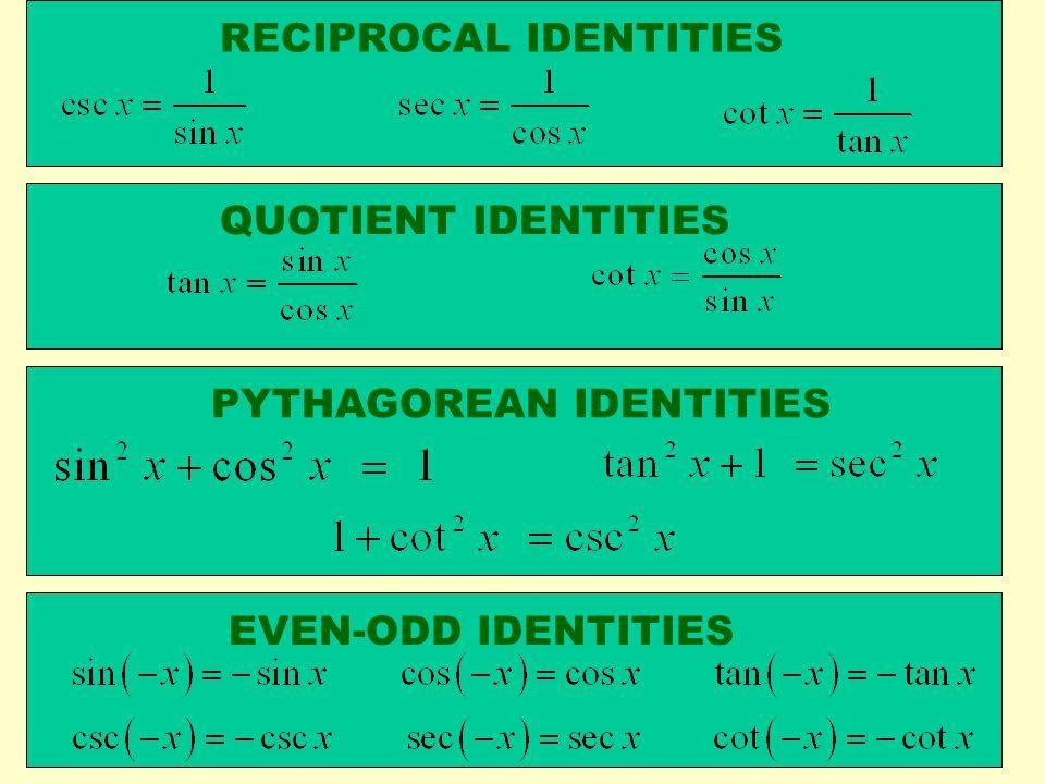 RECIPROCAL IDENTITIES QUOTIENT IDENTITIES PYTHAGOREAN IDENTITIES EVEN-ODD IDENTITIES