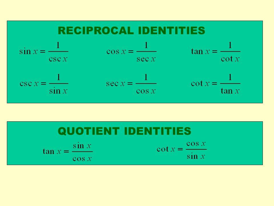RECIPROCAL IDENTITIES QUOTIENT IDENTITIES