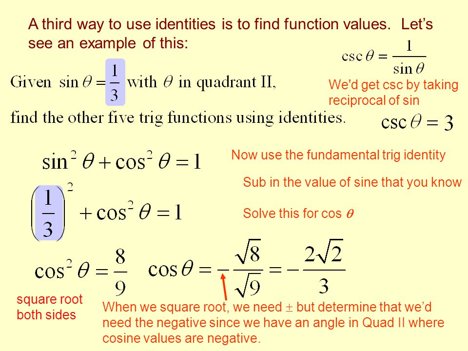 We d get csc by taking reciprocal of sin Now use the fundamental trig identity Sub in the value of sine that you know Solve this for cos  When we square root, we need  but determine that we'd need the negative since we have an angle in Quad II where cosine values are negative.