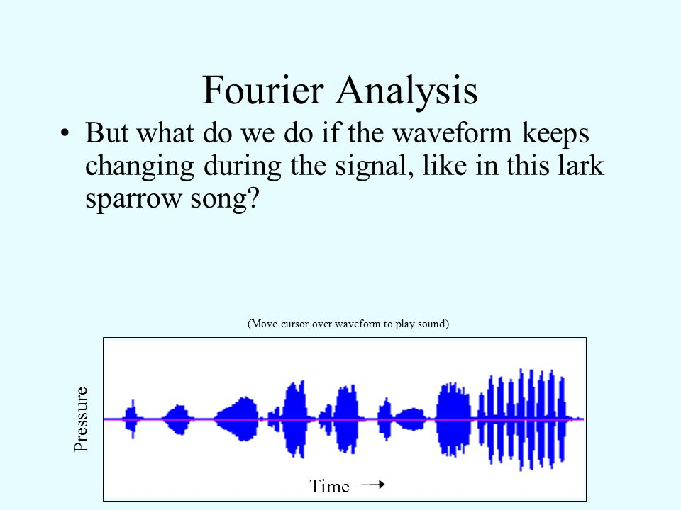 Fourier Analysis Applying the Fourier solution, we get: A plot of amplitude versus frequency components is called the frequency spectrum (or power spectrum) of a sound.