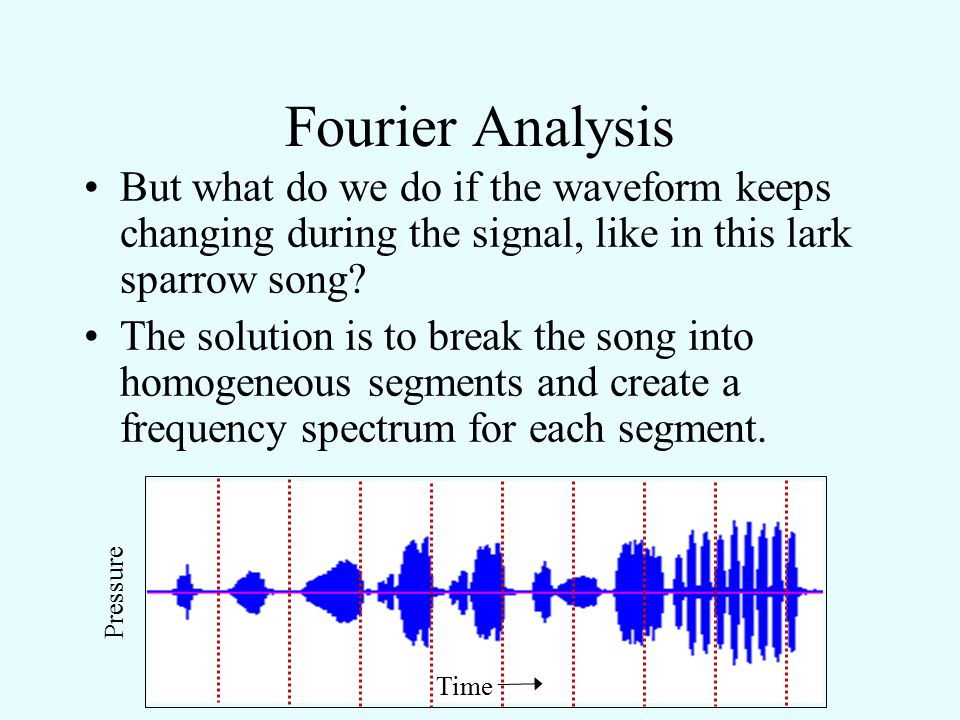 Fourier Analysis But what do we do if the waveform keeps changing during the signal, like in this lark sparrow song? Pressure Time (Move cursor over w