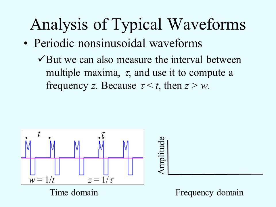 Analysis of Typical Waveforms Periodic nonsinusoidal waveforms We can measure the usual period between repeats of the periodic waveform, t, and use it