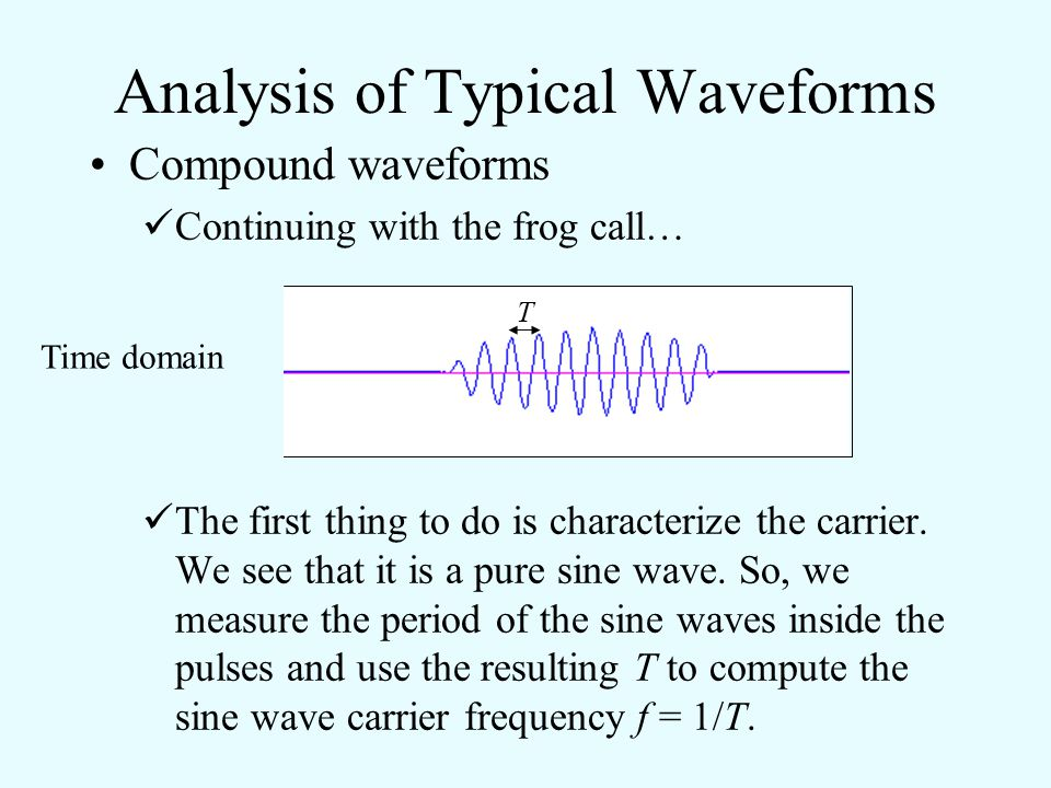Analysis of Typical Waveforms Compound waveforms Consider the following example of a frog call: This appears to be a pure sine wave that has been ampl