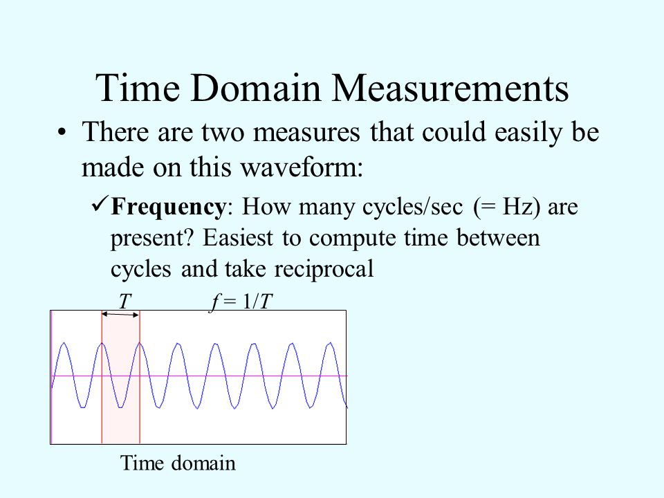 Time Domain Measurements There are two measures that could easily be made on this waveform: Amplitude: Rather than absolute values, one usually compar