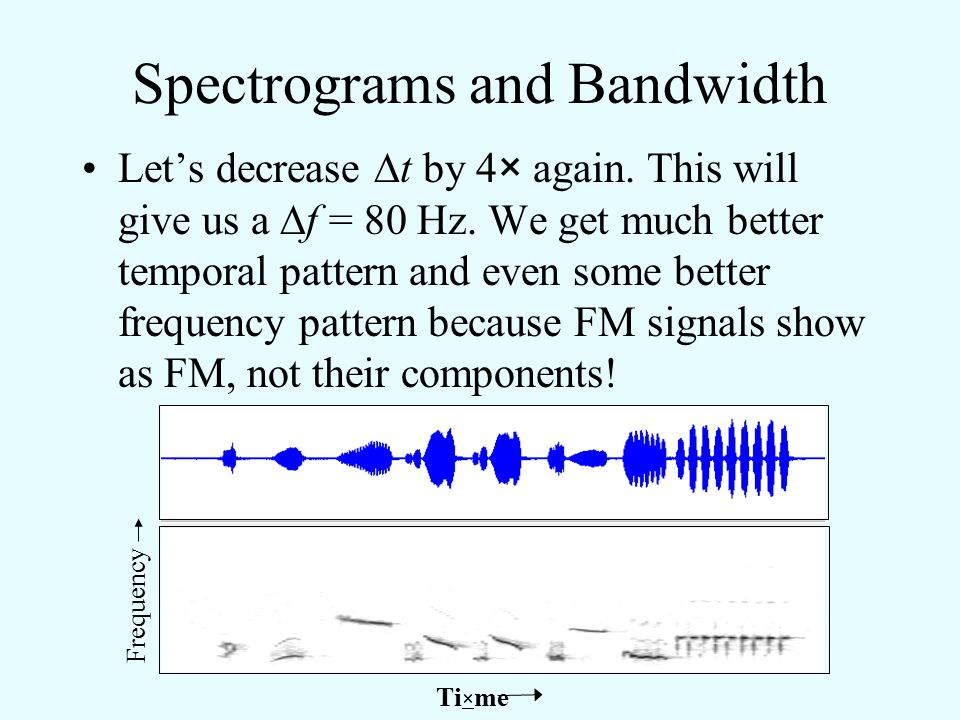 Spectrograms and Bandwidth Let's decrease  t by 4×. This will give us a  f = 20 Hz). This starts to restore some of the temporal pattern, and the fr