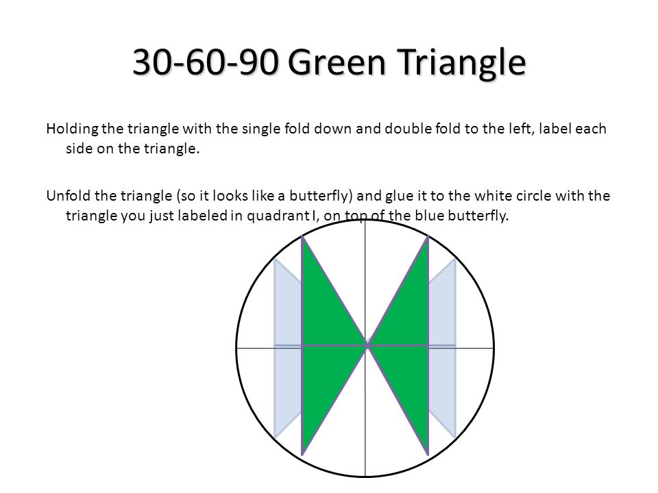 30-60-90 Green Triangle Holding the triangle with the single fold down and double fold to the left, label each side on the triangle. Unfold the triang