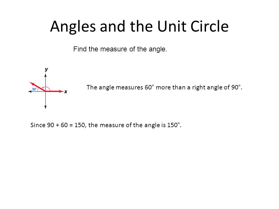 Angles and the Unit Circle Find the measure of the angle. Since 90 + 60 = 150, the measure of the angle is 150°. The angle measures 60° more than a ri