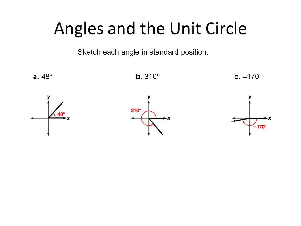 Angles and the Unit Circle Sketch each angle in standard position. a. 48°b. 310°c. –170°