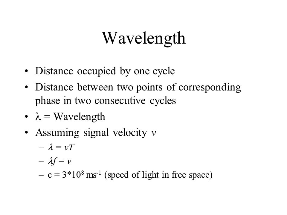 Wavelength Distance occupied by one cycle Distance between two points of corresponding phase in two consecutive cycles = Wavelength Assuming signal ve