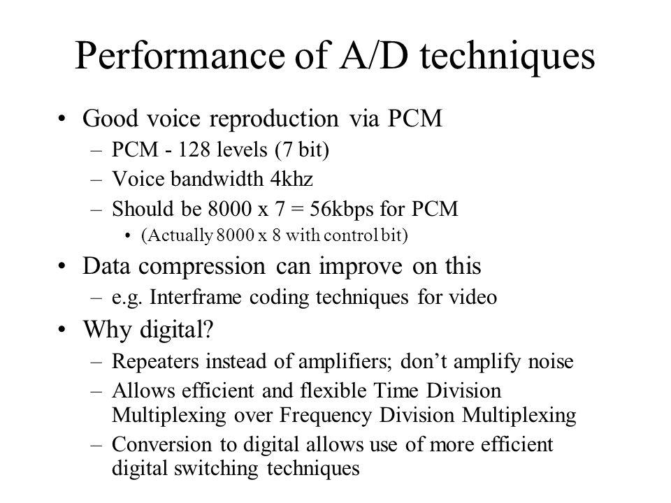 Performance of A/D techniques Good voice reproduction via PCM –PCM - 128 levels (7 bit) –Voice bandwidth 4khz –Should be 8000 x 7 = 56kbps for PCM (Actually 8000 x 8 with control bit) Data compression can improve on this –e.g.